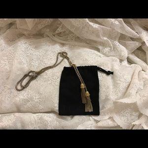 J. Crew costume jewelry gold tassel necklace